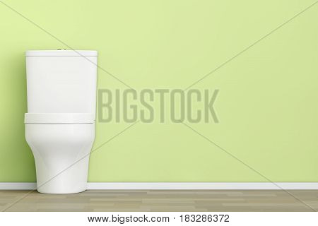 White Ceramic Toilet Bowl in front of Olive Wall. 3d Rendering.