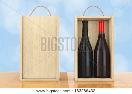 Wine Bottles in Blank Wooden Wine pack with Handle on a wooden table. 3d Rendering.