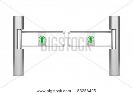 Shop Turnstile Entrance Tourniquet with Arrow Sign on a white background. 3d Rendering.