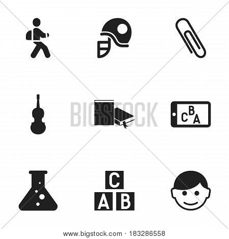 Set Of 9 Editable Education Icons. Includes Symbols Such As Phone Play, Disciple, Staple And More. Can Be Used For Web, Mobile, UI And Infographic Design.