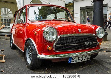 BERLIN - JUNE 14 2015: Compact car Innocenti Mini Cooper 1300. The Classic Days on Kurfuerstendamm.