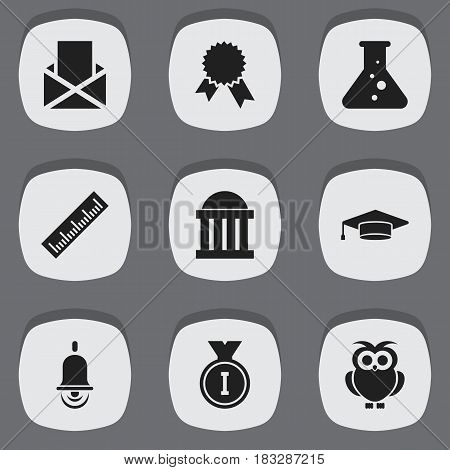 Set Of 9 Editable School Icons. Includes Symbols Such As First Place, Courtroom, Chemistry And More. Can Be Used For Web, Mobile, UI And Infographic Design.