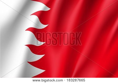 Bahrein national flag, fluttering in the wind, educational and political concept, realistic vector illustration