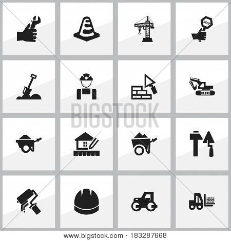 Set Of 16 Editable Building Icons. Includes Symbols Such As Notice Object , Handcart , Elevator. Can Be Used For Web, Mobile, UI And Infographic Design.