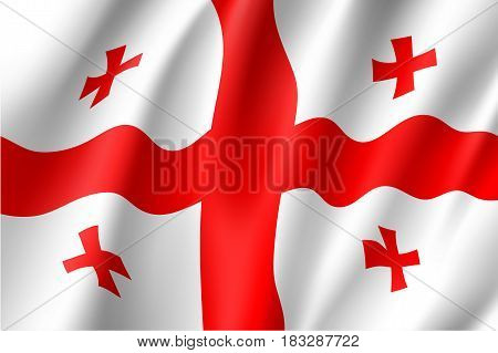 Georgia national flag, fluttering in the wind, educational and political concept, realistic vector illustration
