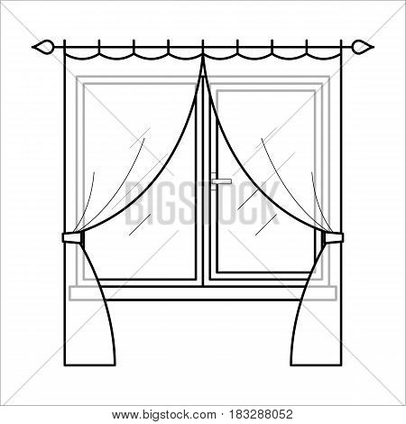 Vector black icon of couple curtains for house interior. Fabric drapery element for home decoration in thin linear style. Window decor for room or kitchen. Flat illustration isolated on background.
