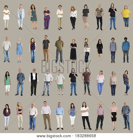 Various of diversity people full body set standing with smiling on background