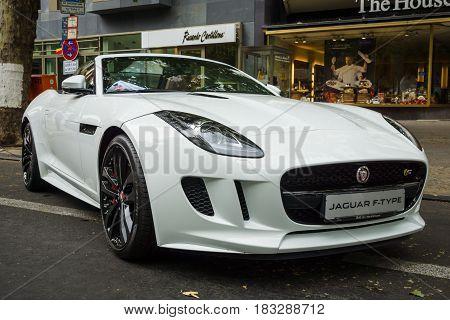 BERLIN - JUNE 14 2015: Sports car Jaguar F-Type V8S Convertible (since 2013). The Classic Days on Kurfuerstendamm.
