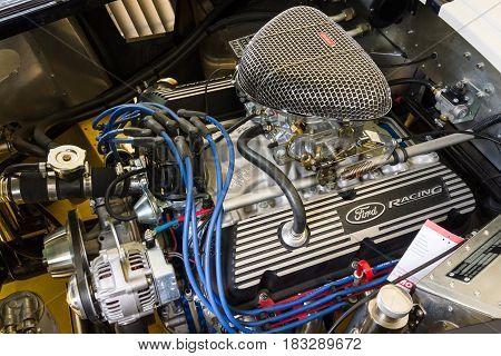BERLIN - JUNE 14 2015: Engine of a roadster Shelby AC Cobra 427 1966. The Classic Days on Kurfuerstendamm.