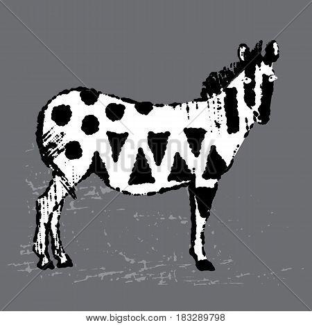 Ink hand drawn patterned zebra. Vectored hand drawn zebra illustration