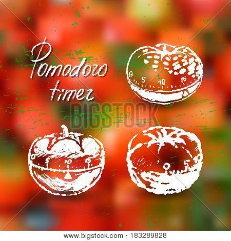 Pomodoro timer ink hand drawn illustration. Artistic elements for creative design