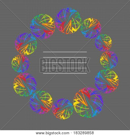 Place for your Text Radial Frame of Rainbow Circle on Grey Background. Decorative Design Element for Cover of Copybok Notebook Book Booklet Brochure Pamphlet.