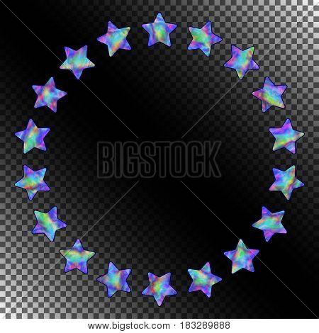 Abstract Round Frame of Stars with Realistic Holographic Effect. Isolated Asterisks in form Circle on Transparent Background.