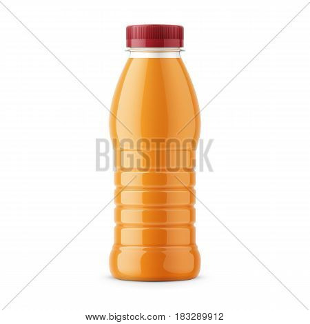 Glossy PET bottle with screw cap for orange juice. 385 ml. Realistic packaging mockup template. Front view. Vector illustration.