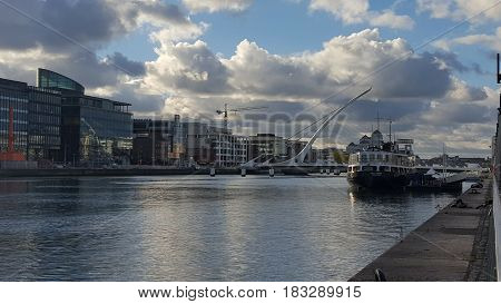 River Liffey in Dublin with bridge and buildings alongside