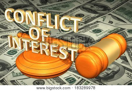 Conflict Of Interest Legal Gavel Concept 3D Illustration