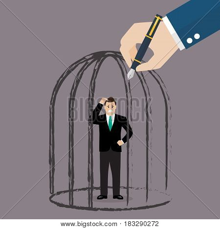 Businessman standing in a hand drawn cage. Business concept