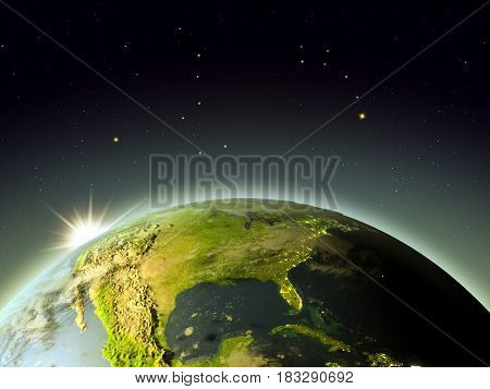 North America From Space During Sunrise