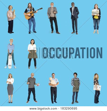 Various of occupation job people full body set standing with smiling on background