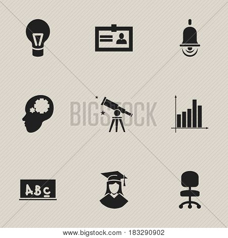 Set Of 9 Editable Science Icons. Includes Symbols Such As Binoculars, School Board, Graduated Female And More. Can Be Used For Web, Mobile, UI And Infographic Design.