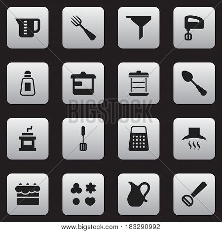 Set Of 16 Editable Cooking Icons. Includes Symbols Such As Mocha Grinder, Shredder, Jug And More. Can Be Used For Web, Mobile, UI And Infographic Design.