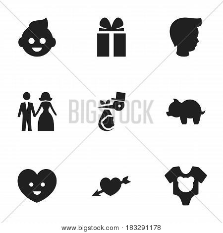 Set Of 9 Editable Relatives Icons. Includes Symbols Such As Child, Moneybox, Bodysuit And More. Can Be Used For Web, Mobile, UI And Infographic Design.