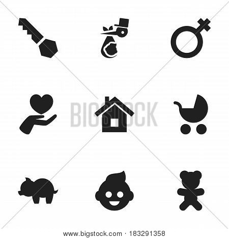 Set Of 9 Editable Family Icons. Includes Symbols Such As Baby, Lock, Child And More. Can Be Used For Web, Mobile, UI And Infographic Design.