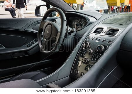 BERLIN - JUNE 14 2015: Cabin of a luxury car Aston Martin Vanquish (since 2012). The Classic Days on Kurfuerstendamm.