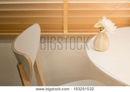 Contemporary Wooden Furniture In Minimal Room Style stock photo