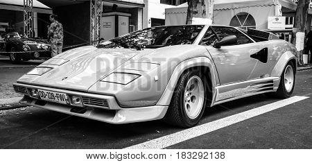 BERLIN - JUNE 14 2015: Luxury sports car Lamborghini Countach 5000 Quattrovalvole. The Classic Days on Kurfuerstendamm.