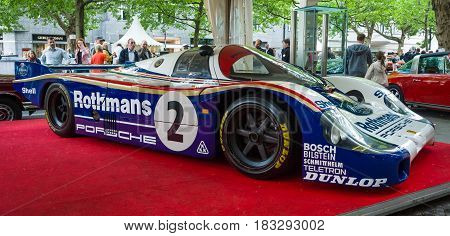 BERLIN - JUNE 14 2015: Racing car Porsche 956 designed by Norbert Singer 1982. The Classic Days on Kurfuerstendamm.