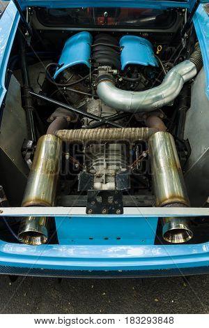 BERLIN - JUNE 14 2015: Engine of a sports car Jim Turner GTO 1984. The Classic Days on Kurfuerstendamm.