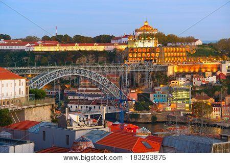 Porto Landmarks At Twilight, Portugal