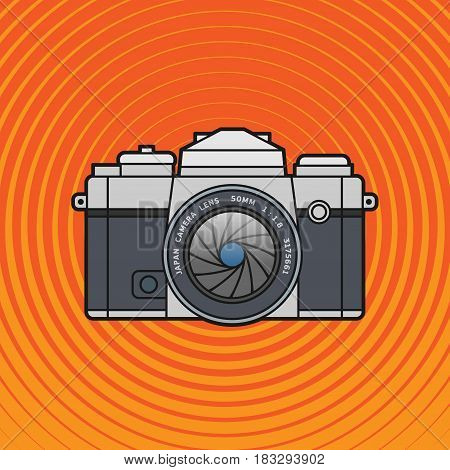 Retro vintage SLR photo camera. Flat photo camera icon classic camera. Vector illustration.