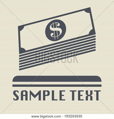 Bundle of money or cash icon or sign vector illustration