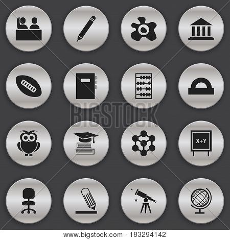 Set Of 16 Editable Education Icons. Includes Symbols Such As Omelette, Arithmetic, Student And More. Can Be Used For Web, Mobile, UI And Infographic Design.