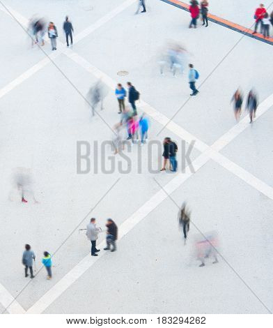 People Motion Blur, Aerial View