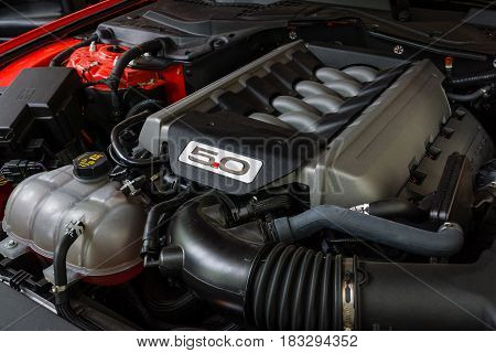BERLIN - JUNE 14 2015: Engine of a pony car Ford Mustang 50th Anniversary Edition 2015. The Classic Days on Kurfuerstendamm.