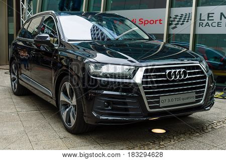 BERLIN - JUNE 14 2015: Full-size luxury crossover SUV Audi Q7 3.0 TDI quattro. The Classic Days on Kurfuerstendamm.