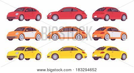 Set of new economy compact class car in bright red, orange, yellow colors, three-door vehicle image in different positions, vector illustration isolated on white background