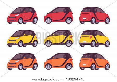 Set of mini electric class car in bright red, orange, yellow color, new model for modern cirty, eco-friendly, urban vehicle vector illustration isolated on white background