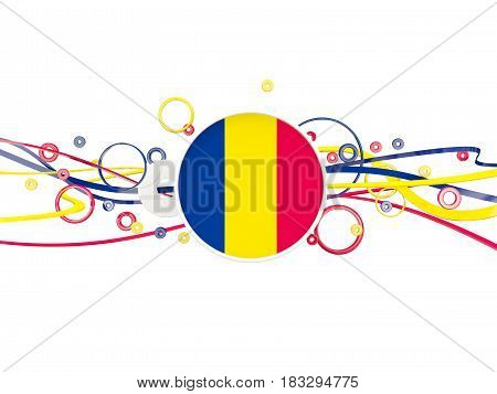 Flag Of Chad, Circles Pattern With Lines