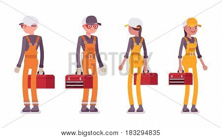 Set of standing male and female smiling professional worker wearing bright orange and yellow overall, holding red toolbox, front, rear view, isolated, white background
