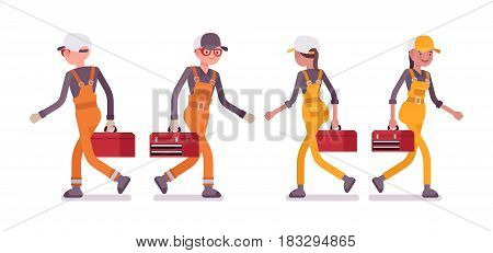 Set of male and female professional busy industrial service worker in walking pose, wearing bright orange, yellow overall, holding red toolbox, full length, front, rear, isolated, white background