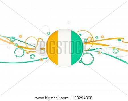 Flag Of Cote D Ivoire, Circles Pattern With Lines