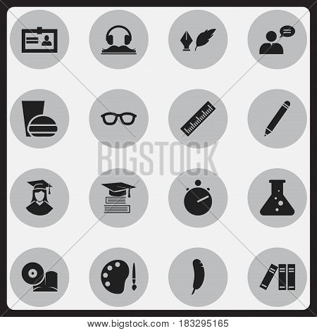 Set Of 16 Editable Science Icons. Includes Symbols Such As Chemistry, Graduated Female, Fast Food And More. Can Be Used For Web, Mobile, UI And Infographic Design.