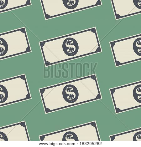 Money Dollar Banknotes Background. Cash Seamless Pattern. Vector illustration