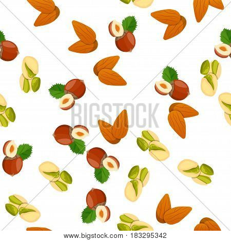 Very high quality original trendy vector seamless pattern with almonds, pistachio and coconut