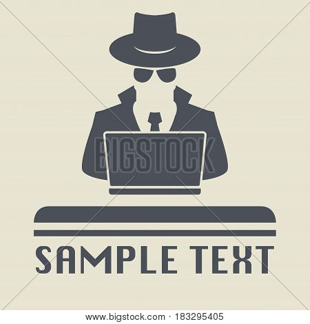 Spy agent searching on laptop. Spy icon or sign symbol. Man in hat vector illustration