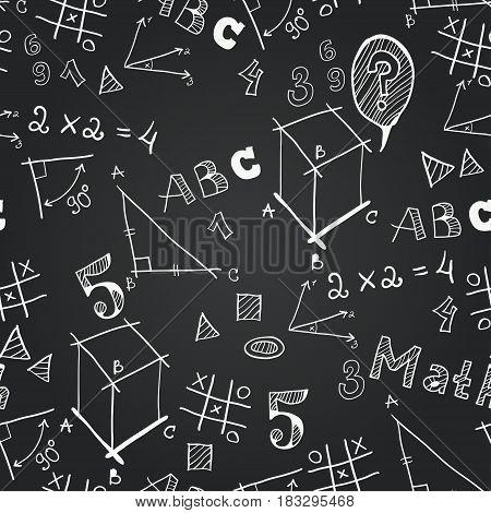 Black and white chalkboard school seamless pattern